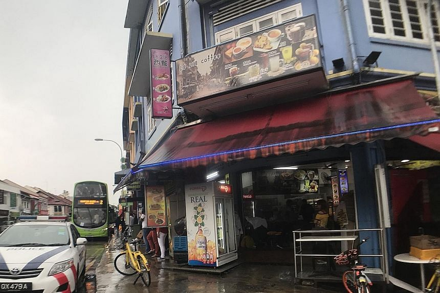 Police were alerted to the fight at 218 Geylang Road (above) at about 7.50am and the officers cordoned off the area for about five hours. The suspect and the victim are both Malaysians.