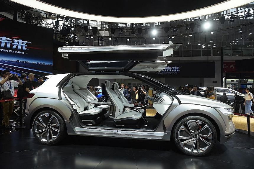 Chinese carmaker Byd's E-Seed electric concept car at the Beijing Auto Show in April. China wants seven million electric cars on the road by 2025.