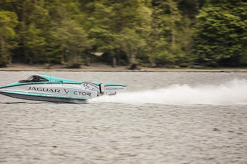 Jaguar Vector Racing's battery-powered boat, the V20E