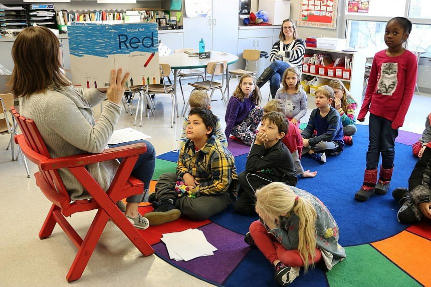 Teacher Erin Vogel engages her second-grade class at Crestwood Elementary School in Madison, Wisconsin, on empathy and inclusion - part of a nationwide push to root out sexism before it takes hold.