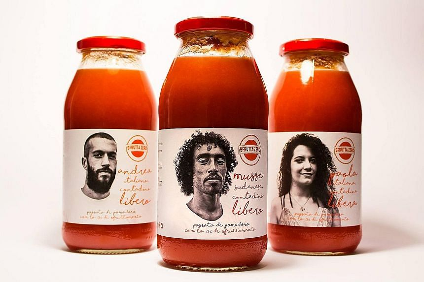 The people behind SfruttaZero want their cause recognised, so jar labels have pictures of workers involved in their production.
