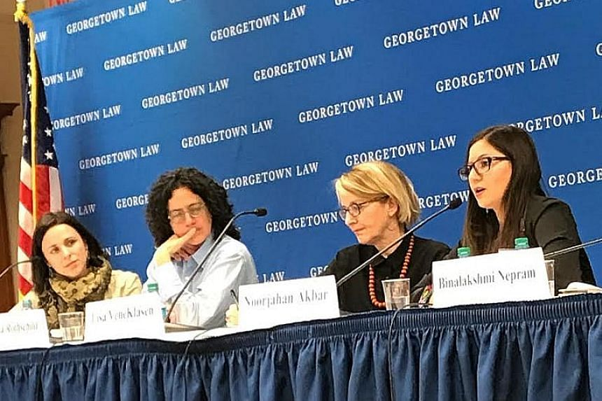 Free Women Writers co-founder Noorjahan Akbar (right) addressing a human rights conference at Georgetown University about Afghan women's fight for their rights.