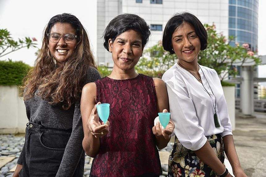 Sisters (from left) Rebecca, Joanne and Vanessa Paranjothy run social start-up Freedom Cups that promotes reusable menstrual cups. These flexible, bell-shaped cups can be fitted under the cervix to collect menstrual blood for up to 12 hours. Unlike t