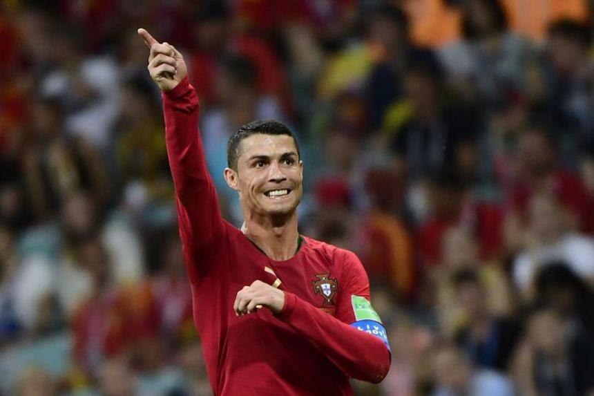 Portugal's forward Cristiano Ronaldo gestures during the Russia 2018 World Cup Group B football match between Portugal and Spain, on June 15, 2018.