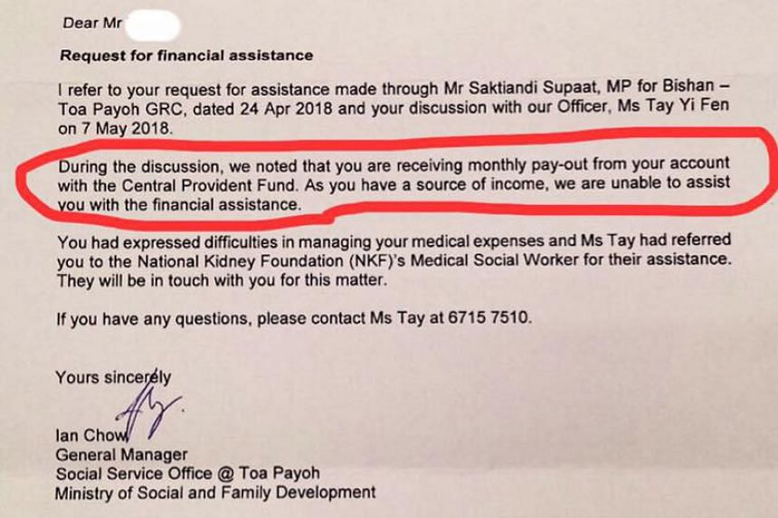 In a Facebook post, Singapore People's Party member Jose Raymond queried why the resident had his request for long-term financial assistance rejected by the Ministry of Social and Family Development.