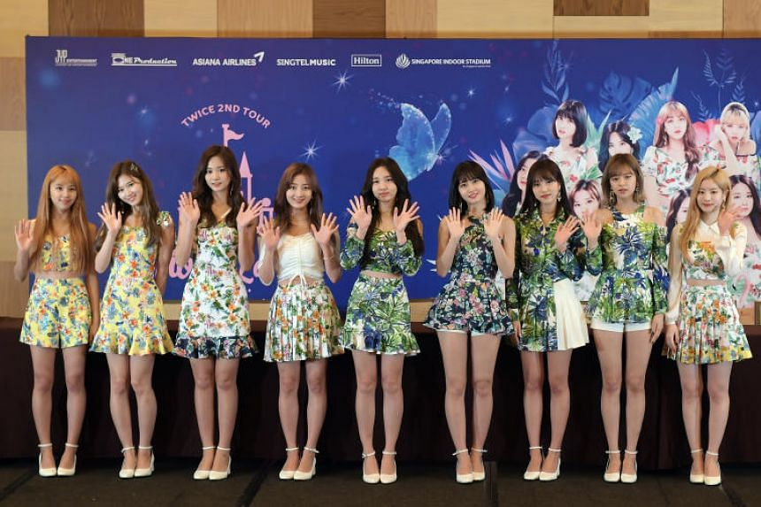South Korean girl group Twice at a press conference at the Grand Hyatt hotel on June 16, 2018.