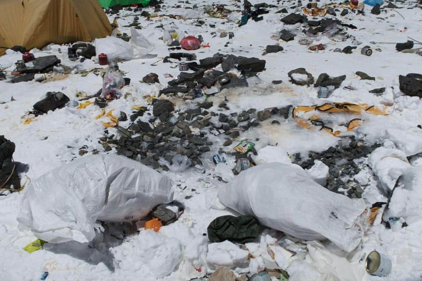 Discarded climbing equipment and rubbish scattered around Camp 4 of Mount Everest, on May 20, 2018.
