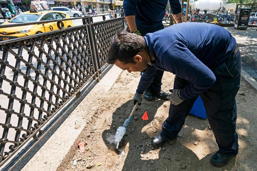 Health Department workers placing dry ice into rat burrows in Sara D. Roosevelt Park, on June 7, 2018, in New York.