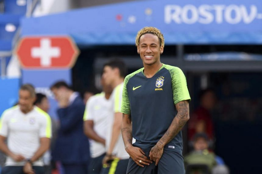 Brazil's national soccer team forward Neymar reacts during a training session on the eve of the group E match between Switzerland and Brazil of the FIFA soccer World Cup 2018 at the Rostov Arena, in Rostov-on-Don, Russia, on June 16, 2018.