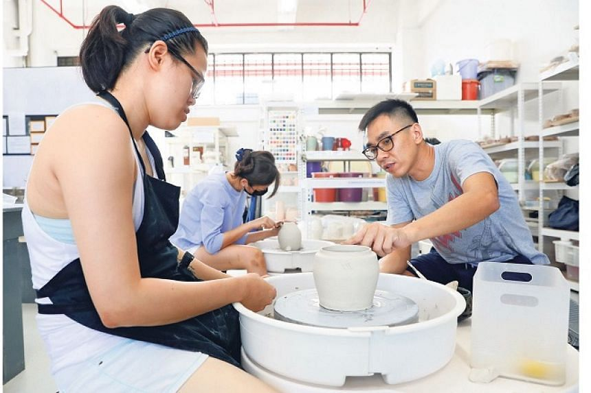 Mr Alvin Tan, founder of The 8th Floor Creative Space, enjoys passing on the techniques of ceramic art.
