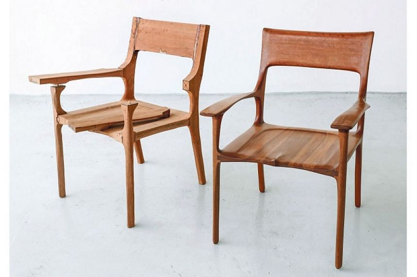 A chair that is still a work in progress and one that is completed at Tombalek.