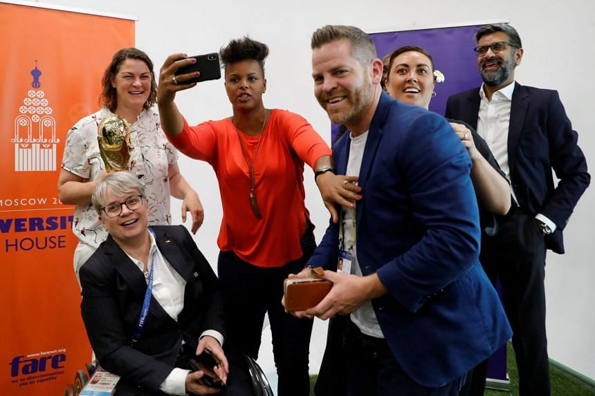 Fifa chief member associations officer Joyce Cook (left), and former Canadian soccer player Karina LeBlanc (centre) attending the opening ceremony for Diversity House in Moscow on June 14, 2018. The owners of the building that was to host the Diversi