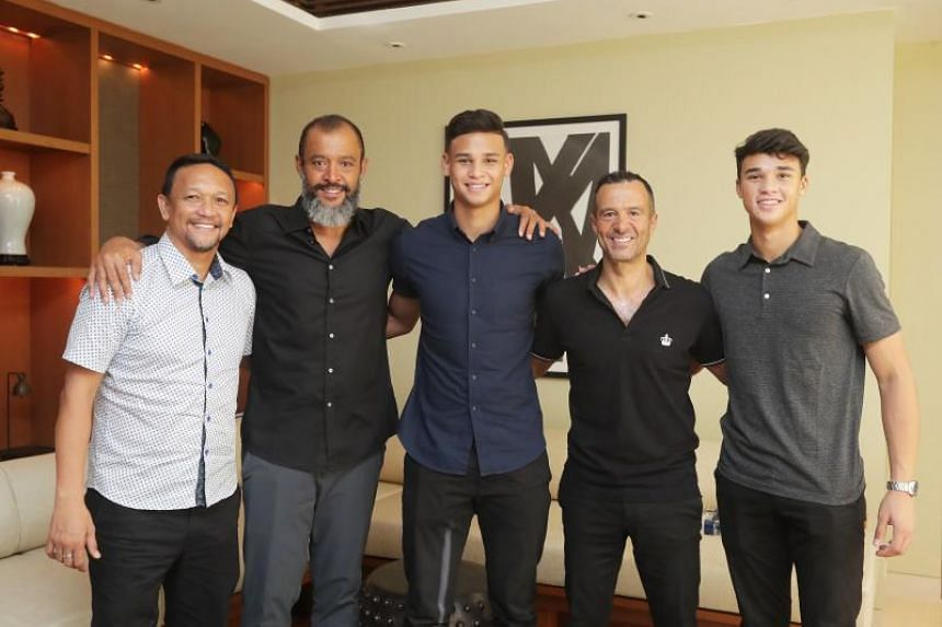 (From left) Fandi Ahmad, Wolves manager Nuno Espirito Santo, Irfan Fandi, agent Jorge Mendes and Ikhsan Fandi at Capella, Sentosa on June 16, 2018.