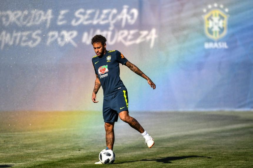 Neymar attending a training session with the Brazilian team in Sochi, Russia, on June 14, 2018.