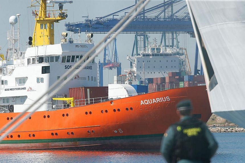 The Aquarius, carrying 630 migrants, entering the Valencia port yesterday.