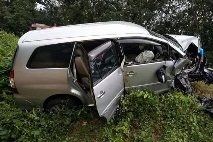 The driver, Mr Chua Keh Loing, lost control of the car and it collided with a sport utility vehicle near Tangkak in the direction of Bekoh on Friday afternoon.