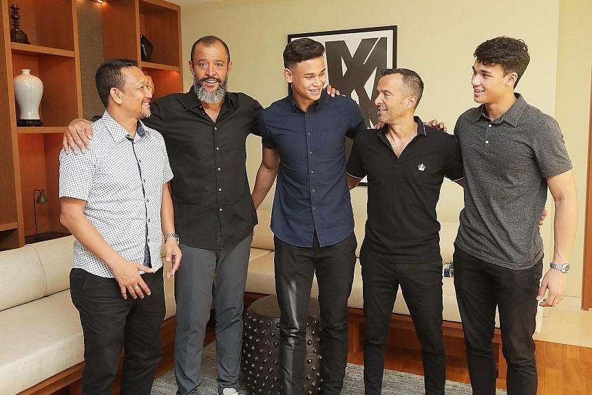From left: Fandi Ahmad, Wolves manager Nuno Espirito Santo, Irfan Fandi, agent Jorge Mendes and Ikhsan Fandi at their meeting on Saturday. Nuno, who will coach Wolves in the English Premier League next season, and Mendes gave the two Young Lions advi