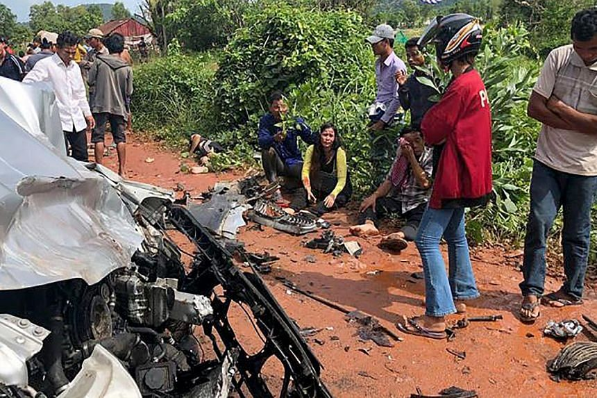 The site of an accident yesterday between a taxi and a motorcade carrying Prince Norodom Ranariddh and his wife in Preah Sihanouk province.