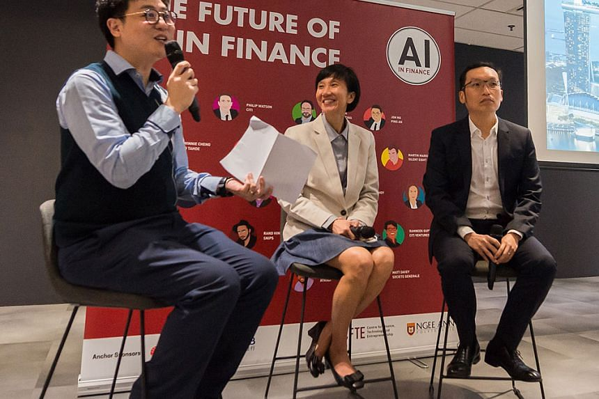 From left: Mr Patrice Choong, director of Sandbox in Ngee Ann Polytechic, Ms Janet Young, UOB's head of Group Channels and Digitalisation and Mr Ken Wong, head of OCBC Bank's AI Lab. PHOTO: NGEE ANN POLYTECHNIC