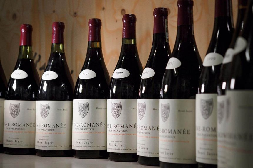 Magnums of Vosne-Romanee 1er cru Cros Parantoux wine by the late famous French winemaker Henri Jayer in Geneva, on April 27, 2018.