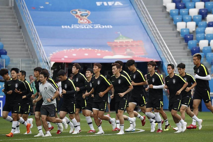 South Korea's players attend a training session at the Nizhny Novgorod Stadium, Russia, on June 17, 2018.