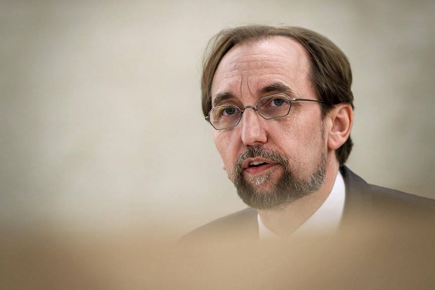 United Nations High Commissioner for Human Rights Zeid Ra'ad Al Hussein delivers a speech in Geneva, on May 18, 2018.