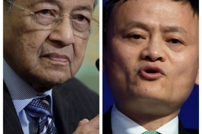 Malaysia's prime minister Mahathir Mohamad (left) at the Japan National Press Club in Tokyo, Japan, on June 11, 2018; Alibaba Group Founder and Executive Chairman Jack Ma at the World Economic Forum in Davos on Jan 18, 2017.