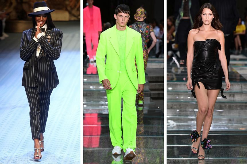 (From left) Naomi Campbell for Dolce & Gabbana, Versace's fluorescent green and pink outfits for men and Bella Hadid leading Versace's show in Milan.