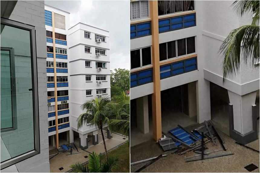 The decorative structure at Block 270 Pasir Ris Street 21 fell from a height of at least eight storeys on June 18, 2018.