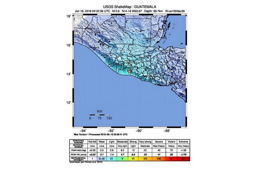 The location of a 5.6-magnitude earthquake which struck at a depth of 99.7km below the surface, near Guanagazapa, Guatemala, on June 17, 2018.