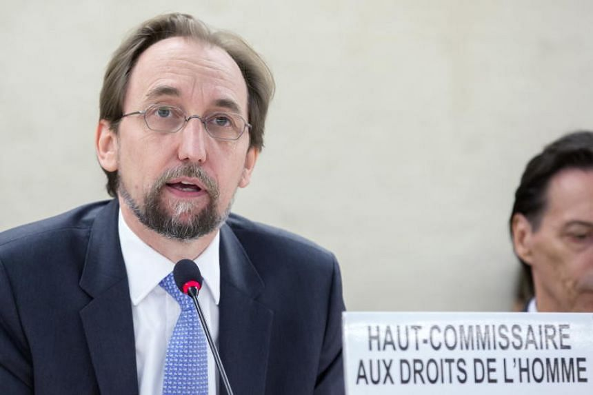 United Nations' High Commissioner for Human Rights Zeid Ra'ad al-Hussein speaks during the opening day of the 38th session of the Human Rights Council at UN's European headquarters in Geneva on June 18, 2018.