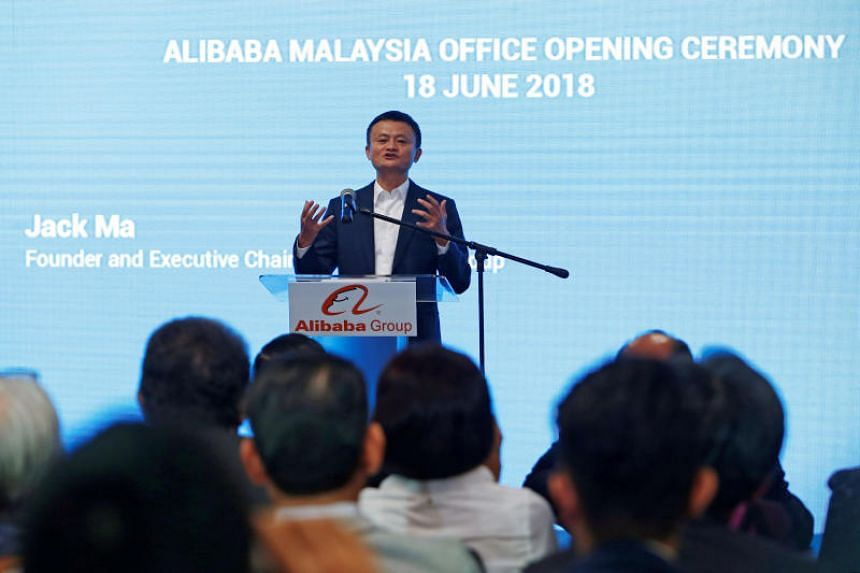 Alibaba founder Jack Ma speaks during the launch of Alibaba's office in Kuala Lumpur on June 18, 2018.