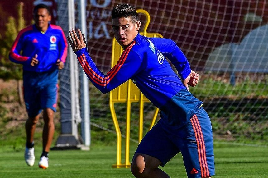 Colombia's star midfielder James Rodriguez is struggling with a strain in his left calf and is a doubt for the match against Japan.