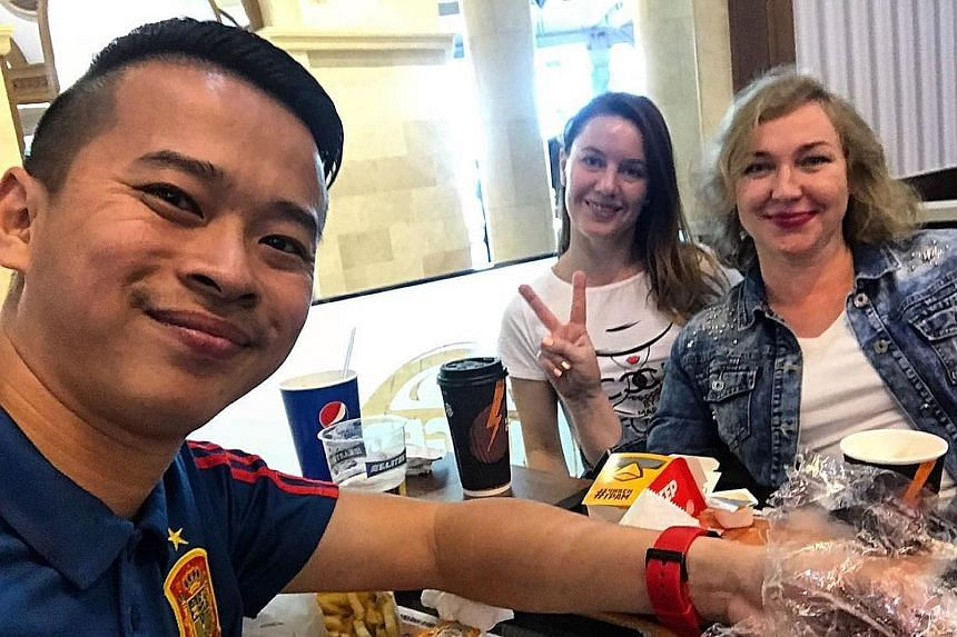 The burgers are good but Straits Times correspondent David Lee also tries a horse-meat kolbasa sandwich offered by Luda and Katia from Tula. Shashlik – skewered, grilled meat – was a hit with the writer. The My-My stolovaya is a Soviet-style canteen that