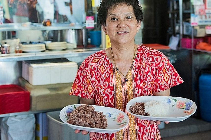 Madam Wee Ling Kue, 67, has added wholegrains to her dishes at Original Tiong Bahru Golden Pig & Roasted.