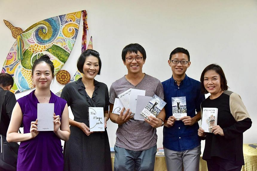(From left) Poet Euginia Tan, writer Charmaine Chan, Ethos associate publisher Ng Kah Gay, poet Theophilus Kwek and writer Charmaine Leung.