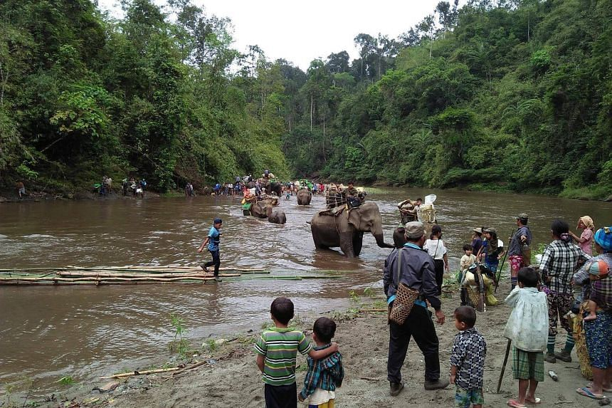 Internally displaced people riding on elephants to cross a river as they make their way looking for a shelter in Danai, Myanmar, on May 2, 2018.