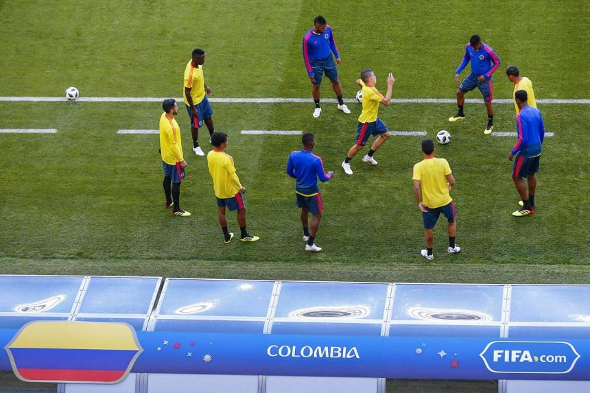 Colombia's players take part in a training session at the Mordovia Arena in Saransk, on June 18, 2018.