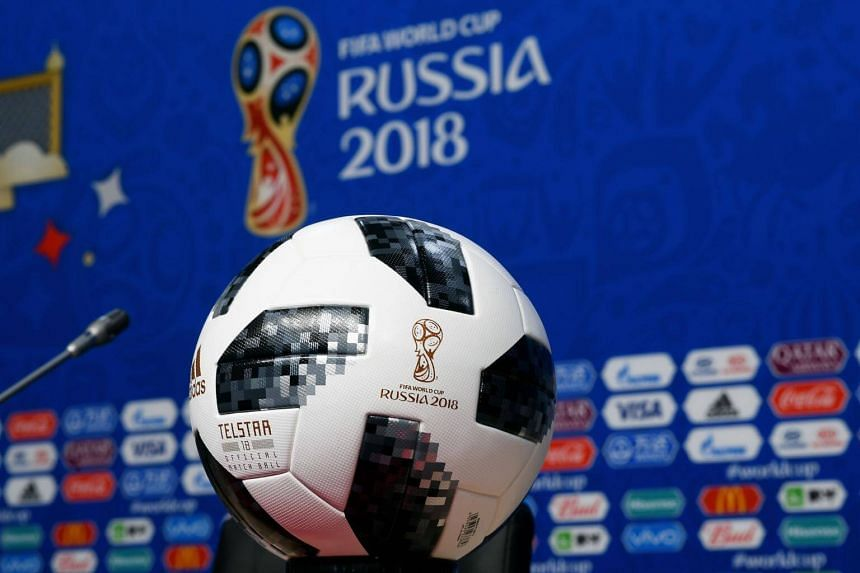 The official ball of the 2018 World Cup is pictured ahead a press conference at the Samara Arena, on June 16, 2018.
