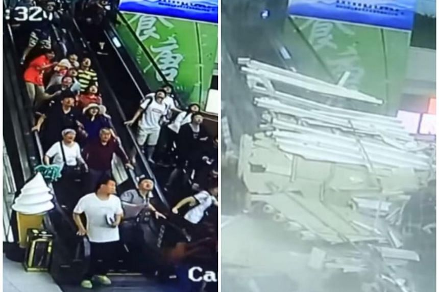 The structure fell onto two moving escalators carrying more than a dozen people in the centre at Mount Huashan, Shaanxi province, on June 16, 2018.
