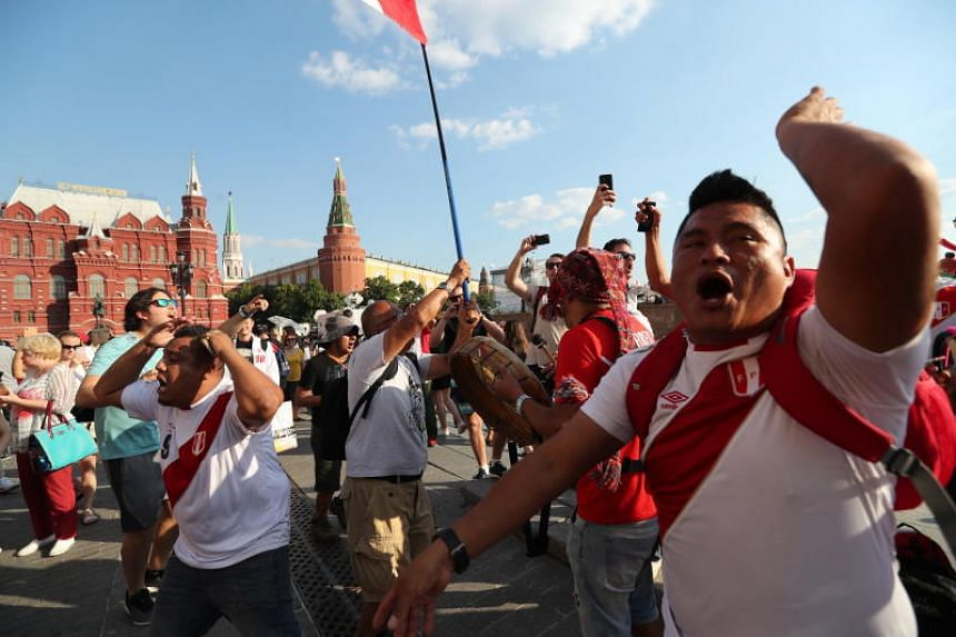 Peruvian fans gather in the Red Square in Moscow, Russia, on June 18, 2018.