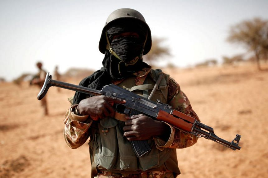 A Malian soldier is pictured near Tin-Hama on Oct 20, 2017.