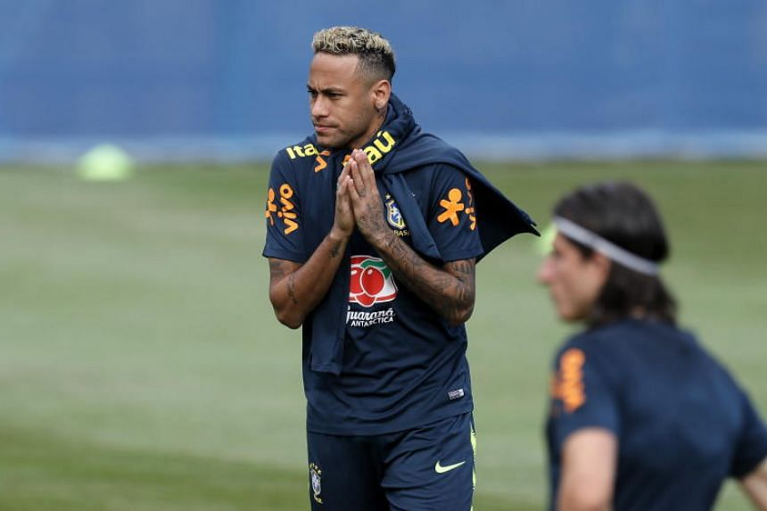 Brazil's Neymar complained of pain, but will train normally on June 20, said a spokesman.