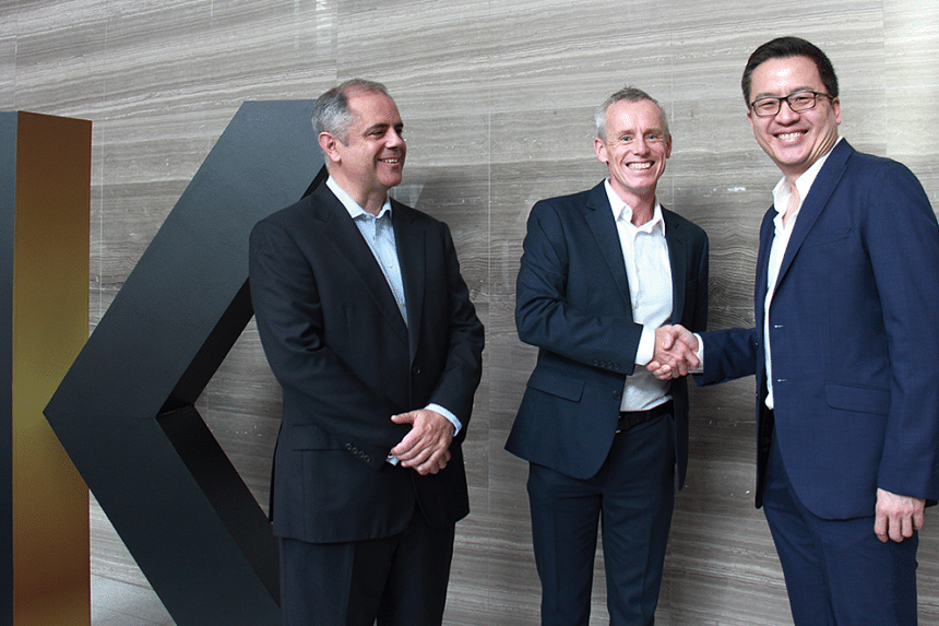From left: Kantar's Mr Sanchez, Kantar's Mr Kelsall and EDB's Mr Wong. In addition to the lab's innovation mandate, the three-year collaboration between Kantar and the EDB also includes the hiring of data scientists and business designers.