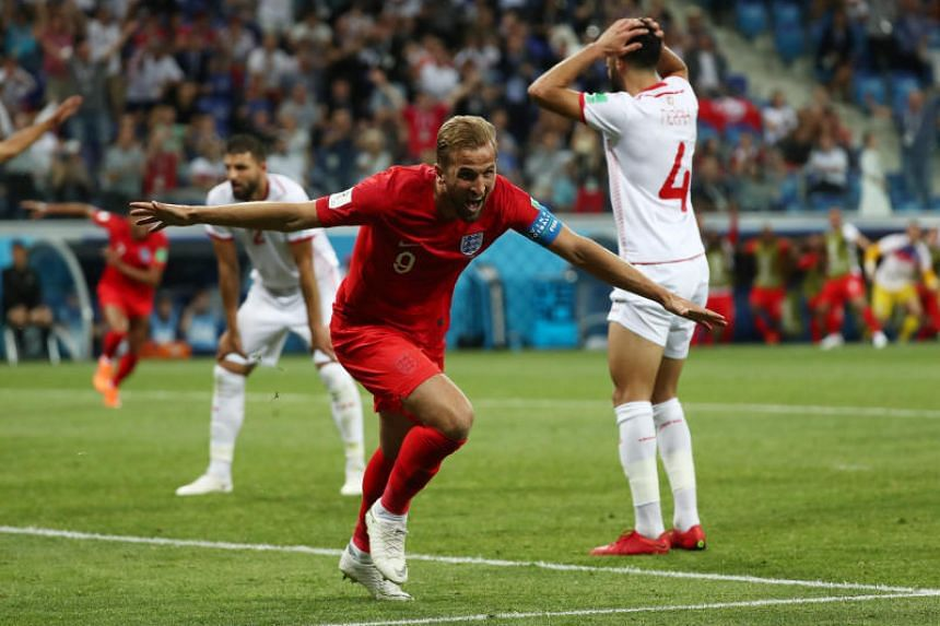 England's Harry Kane celebrates after scoring their second goal at the Volgograd Arena in Volgograd, Russia, on June 18, 2018.