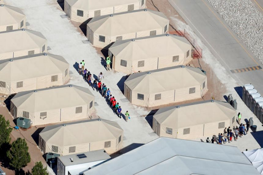 """Immigrant children, many of whom have been separated from their parents under a new """"zero tolerance"""" policy by the Trump administration, are being housed in tents next to the Mexican border in Tornillo, Texas, on June 18, 2018."""