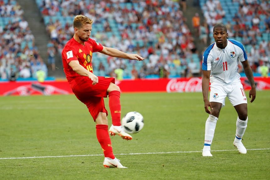 Belgium's Dries Mertens scoring the team's first goal during the World Cup match against Panama, on June 18, 2018.