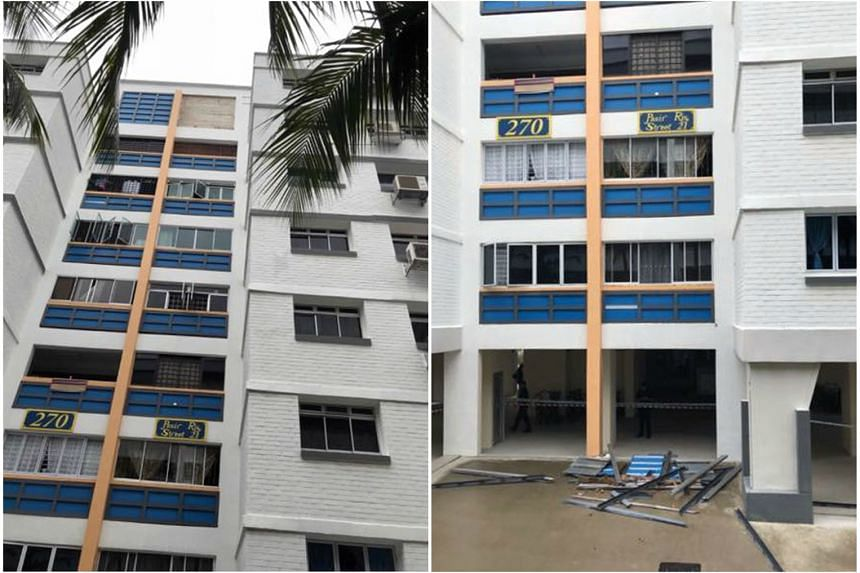 The area was cordoned off after a decorative structure fell from Block 270 Pasir Ris Street 21 yesterday. No one was hurt and Pasir Ris-Punggol GRC MP Zainal Sapari said the incident is being investigated.