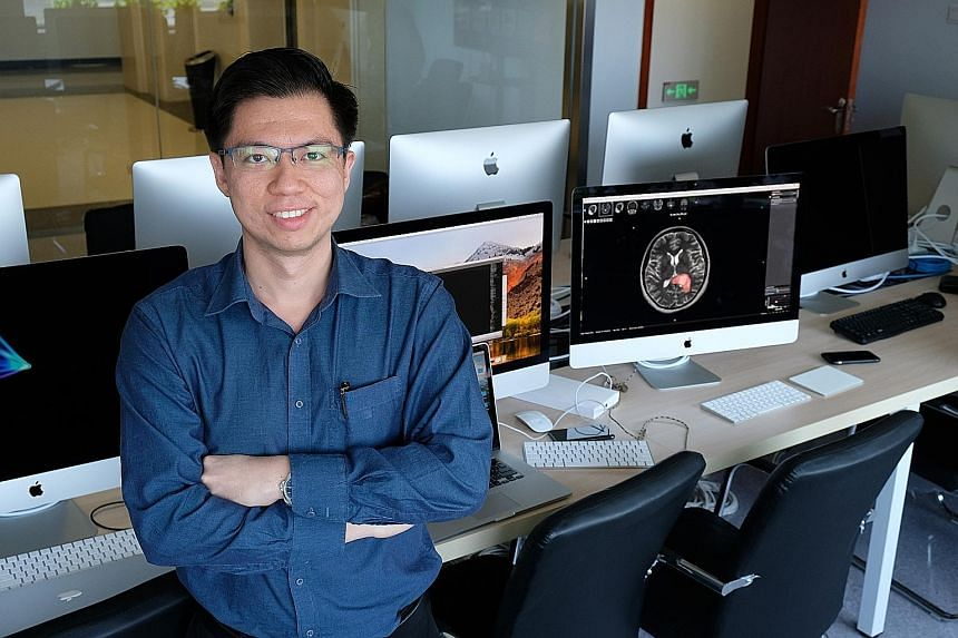 Hanalytics chief executive Raymond Moh at the firm's research centre for neurology at Beijing Tiantan Hospital.