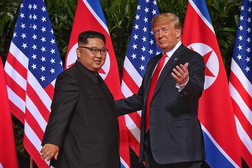 (Clockwise from top) The Straits Times executive photojournalist Kevin Lim's shot of the two leaders meeting in the courtyard of the Capella Singapore hotel on Sentosa last Tuesday was used by The Daily Telegraph, The Courier Mail and Time magazine,